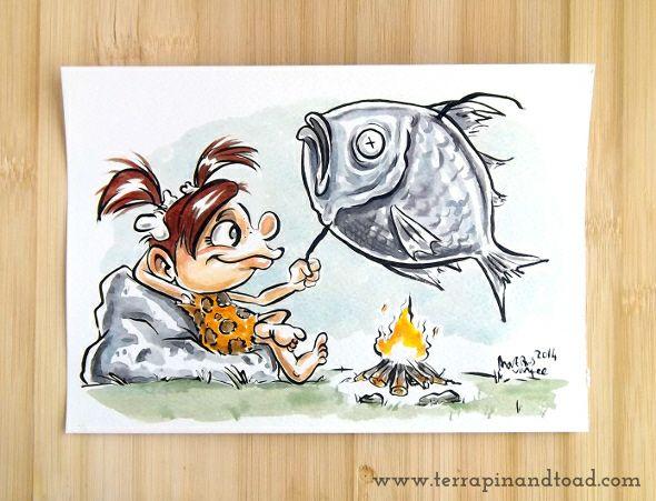 Terrapin and Toad: Sketchbook doodles - Cave Girl Cooking Dinner #terrapinandtoad