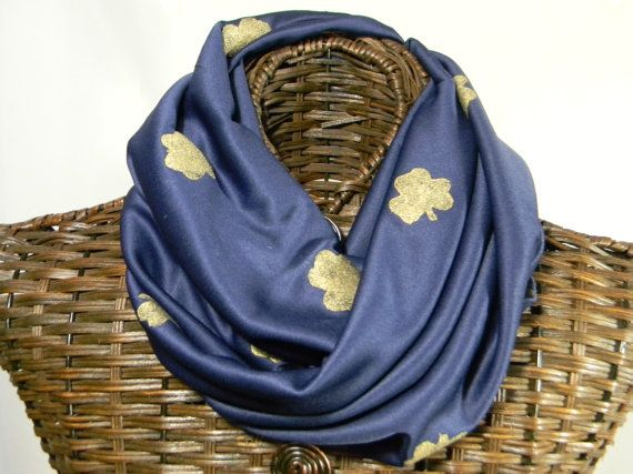 Notre Dame Inspired Infinity Scarf Navy Blue Hand by 4kids4Lord