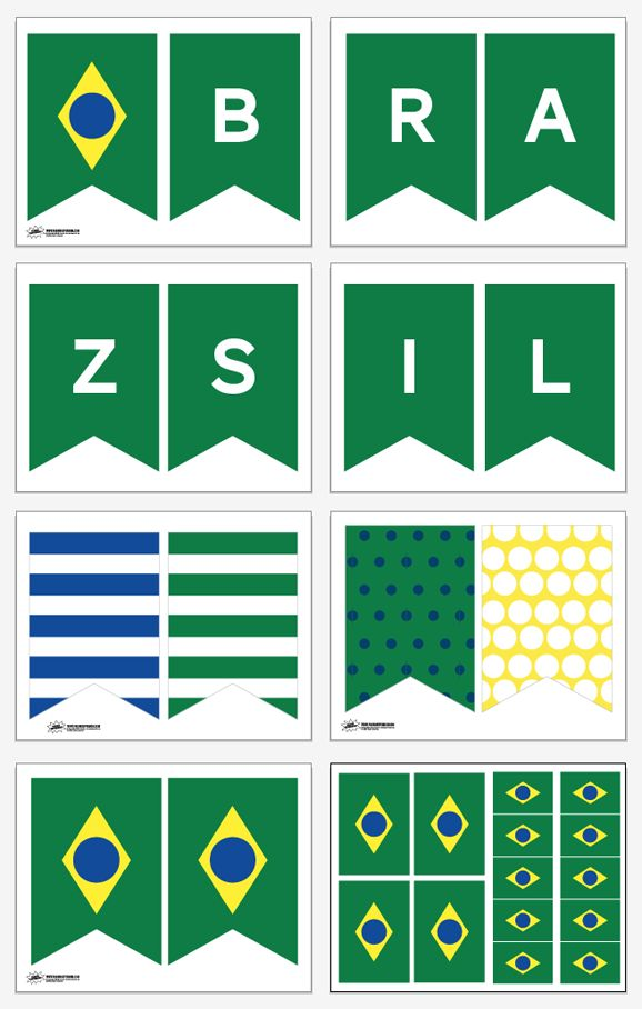Free Printable Brazil Banner and Brazil Flag Party Decor for Missionary Farewell or Missionary Homecoming or World Cup Soccer Parties