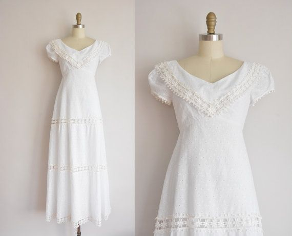 vintage 1960s dress / white cotton eyelet by simplicityisbliss
