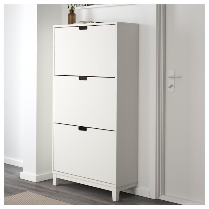 Ikea Stall White Shoe Cabinet With 3 Compartments Ikea Shoe