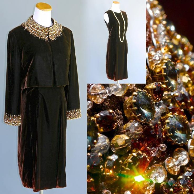 VTG Jimi Fox NY Brown Velvet Dress Jacket Opulent Beaded Prong Set Rhinestones S #JimiFox