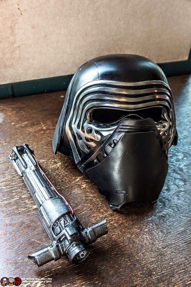 Kylo Ren's face shield and saber hilt