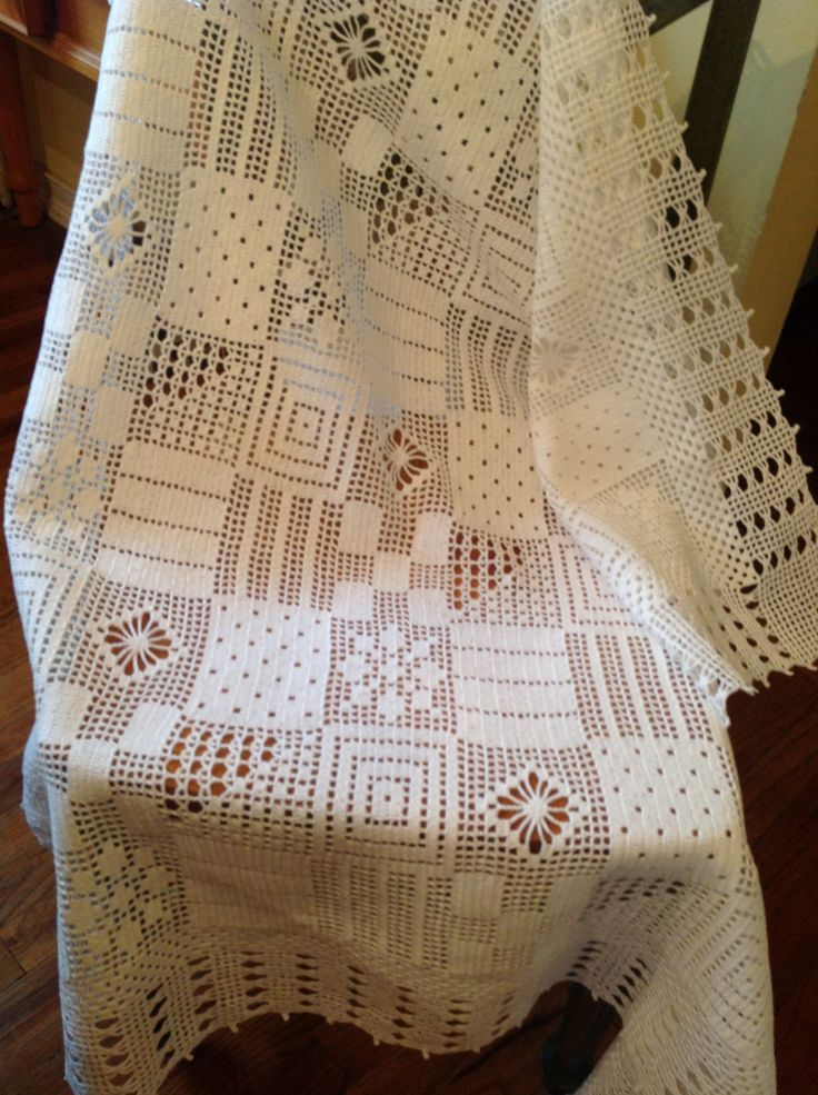 Crochet Thread Patchwork Tablecloth by lcraft on Etsy