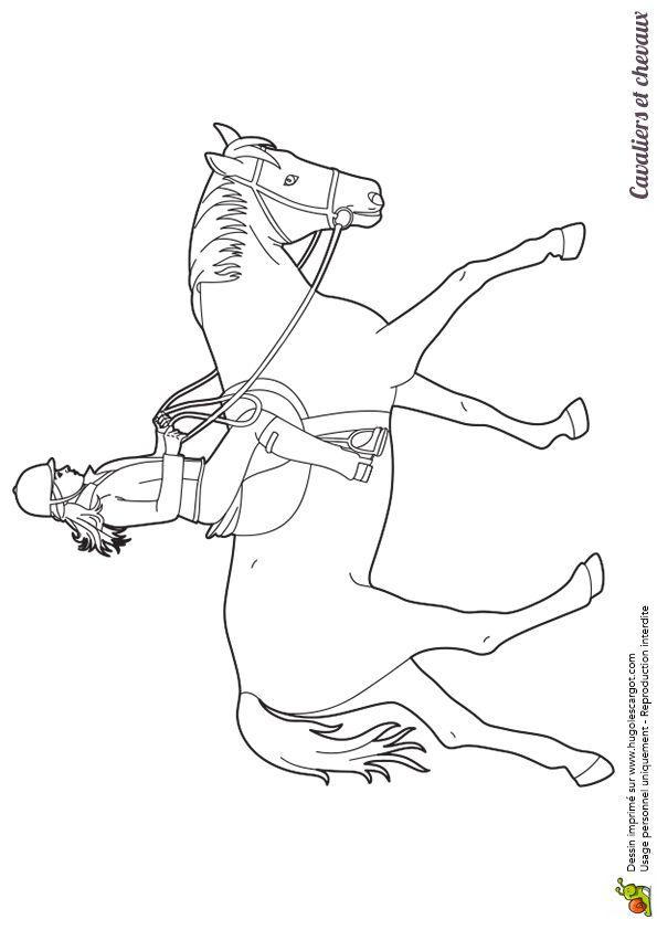 Dessin colorier d 39 une cavali re sur son cheval - Coloriage de cavaliere ...