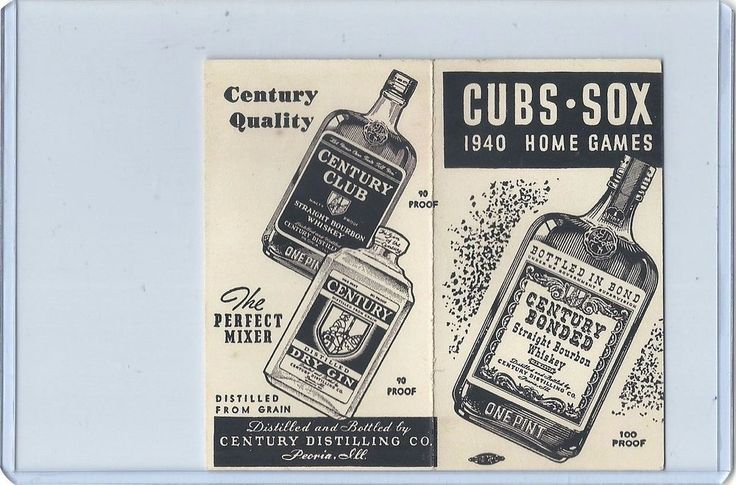 1940 CHICAGO CUBS & WHITE SOX Home schedule Century Distilling Liquors