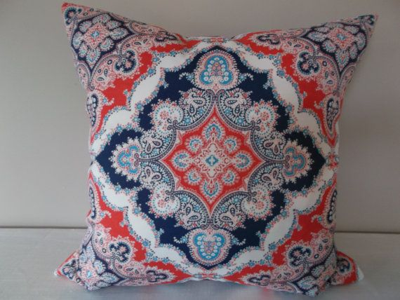 Red White Blue Medallion Outdoor Throw Pillow Cover - Kaufmann - Both Sides - 12x20, 14x24 ...