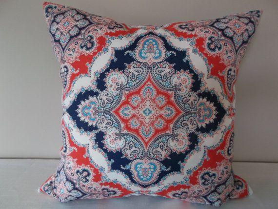 Blue Medallion Throw Pillows : Red White Blue Medallion Outdoor Throw Pillow Cover - Kaufmann - Both Sides - 12x20, 14x24 ...
