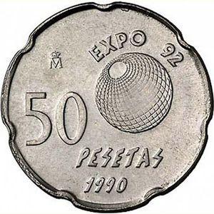 moneda de 50 pesetas conmemorativa Expo 1992