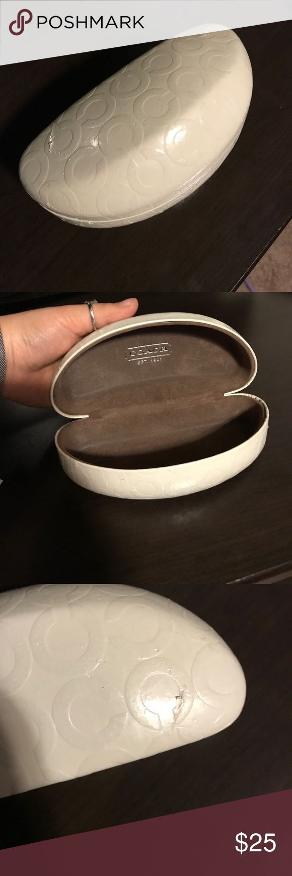 Coach Sunglasses Case White coach sunglasses case. Small mark on the outside (see pics) Coach Accessories Sunglasses