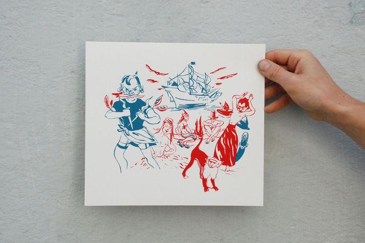 Port Roger evocado - serigrafia a duas cores - Mariana Barrote 2014