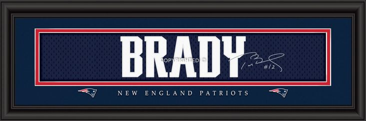 Tom Brady New England Patriots Player Signature Stitched Jersey Framed Print