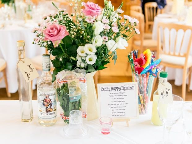 Keep your guests entertained with DIY cocktail #wedding favours for each table. Image © The Wedding Cut. #weddingideas