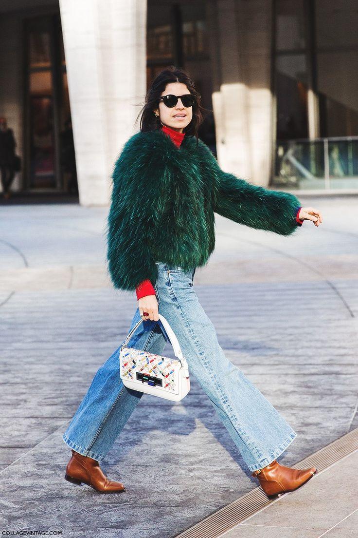 great green fur & flares. Leandra in NYC. #LeandraMedine #ManRepeller