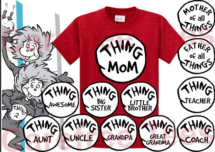 Dr Seuss Thing 1 2 3 4 5 6 Shirt ALL SIZES by carefreetees on Etsy. $12.95 USD, via Etsy.