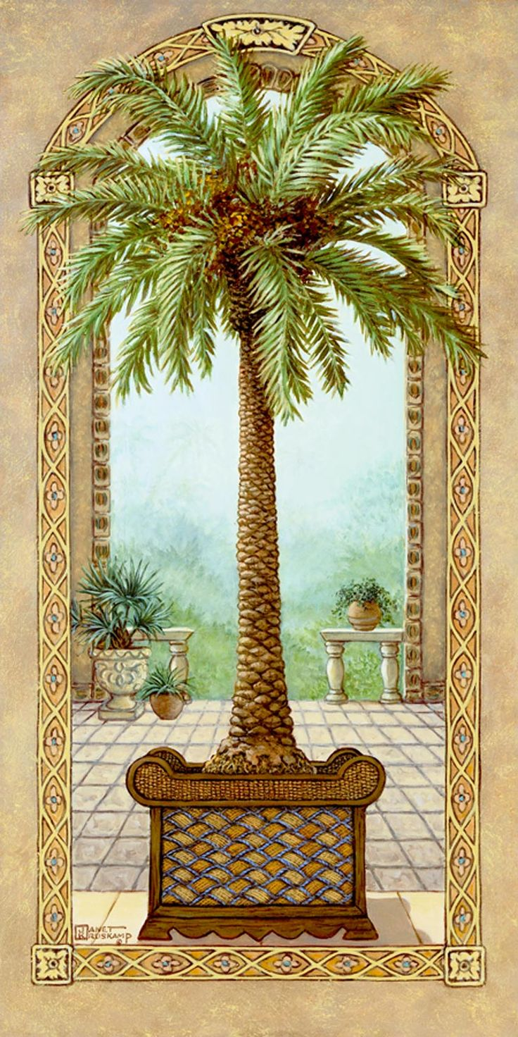 Palm Tree in Basket 1, a painting of a palm tree in a decorative basket planter, inside an open arch and in front of another arch framing the garden of the palace, one of Janet Kruskamp's Original Oil Paintings, ,  by artist Janet Kruskamp