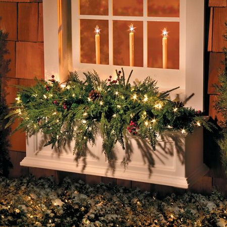Lighted Natural Look Window Box Christmas Swag Outside Decorations