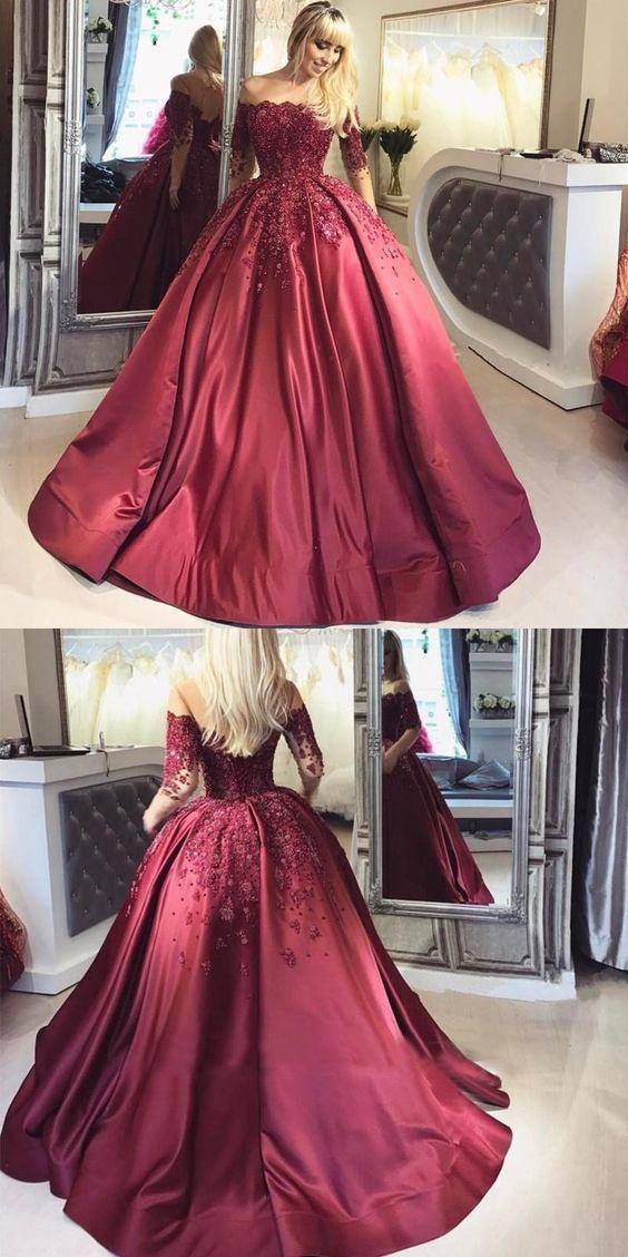 61eeeeb3ace Dark Red Lace Long Sleeve Prom Dress