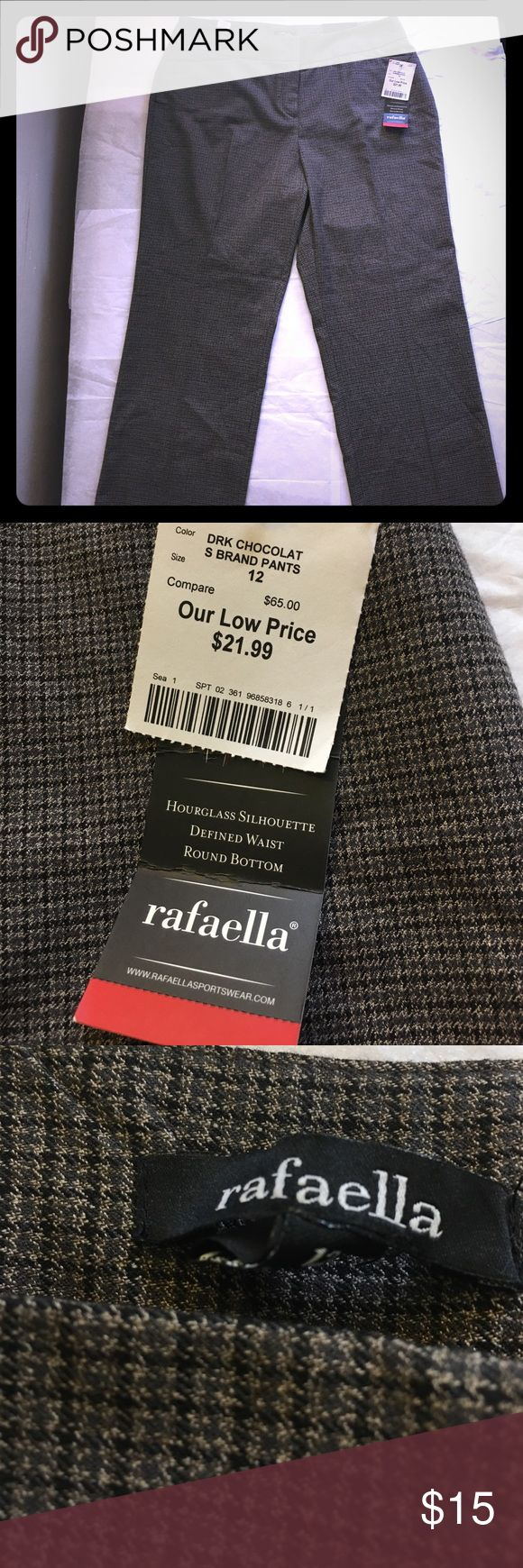 Rafaela chocolate dress pants New with tags Curvy Dress Pant in chocolate all buttons and clasps in tact w/ a defined waist and back pockets Rafaella Pants Trousers