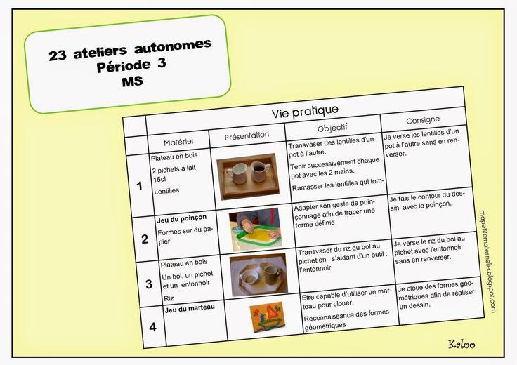 Ateliers autonomes type Montessori - période 3 (Ma petite maternelle)