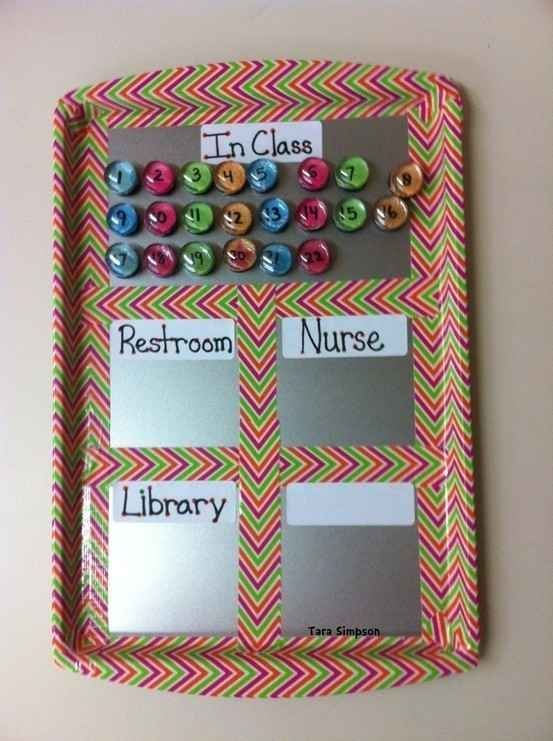 """A metal tray and magnets serve as a """"Where Are We?"""" chart. 