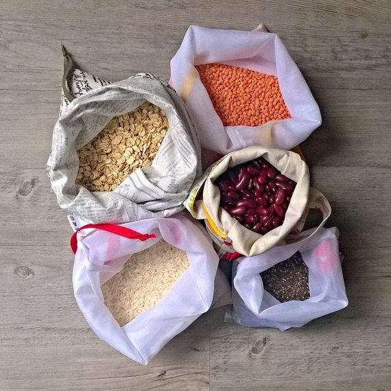 This is a set of 5 bags for bulk shopping of rice, lentils, beans, peas, pasta, quinoa, cereals, linseeds, sesame, sunflower, chia and other kinds of seeds, different kinds of nuts and dried fruits etc. In bulk stores you need bags from densely woven fabrics, but very light at the same time and this is exactly what you are getting in this kit. In this kit youll get:  - 3 solid light transparent bags made of polyesther, that are easy to maintain and will add almost no extra weight to your…