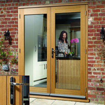 Image of La Porte Oak French Door Pair & Frame Set with Chrome Fittings