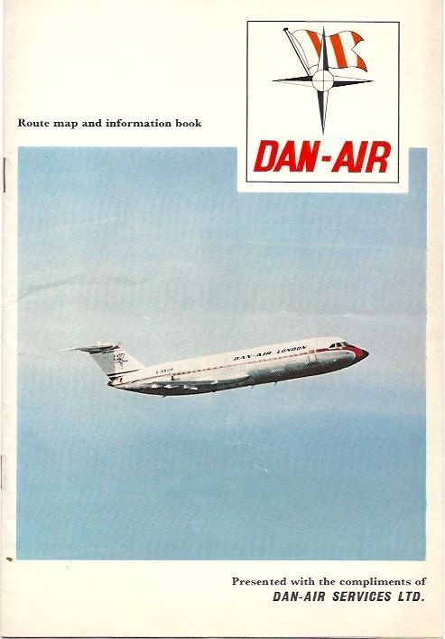 DAN AIR SAFETY CARD AMBASSADOR COMET 4 & BAC1-11  -Dan Air Route Map and information book. This was the precursor to the Safety Cards of today. This booklet has Safety Information - Seat Belts, Smoking, Emergency Exits, Life Jackets, Babies Floating Cots, Dinghies, Radio Interference, Escape Chute, Emergency Landing Instructions. Along with diagrams including emergency exits of Airspeed Ambassador, Comet 4 & BAC1-11. etc.