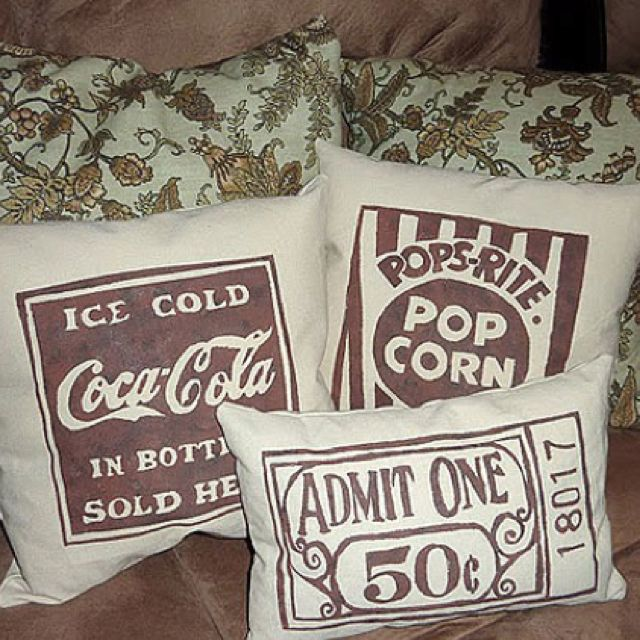 Movie Room Pillows - I love this idea for our TV/Movie room.