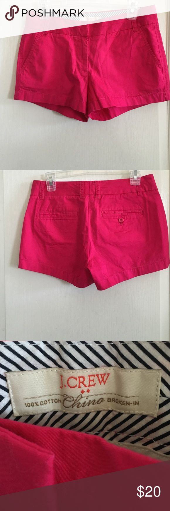 """NWT J Crew Factory Shorts Size 2 NWT chino shorts. Color is hot pink. Inseam is 3"""". No trades or Paypal. J.Crew Factory Shorts"""