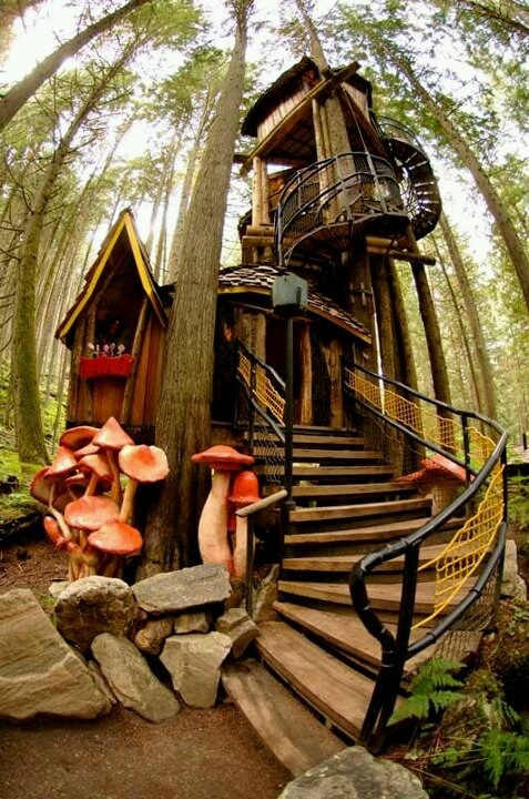 Love the giant toadstools alongside this fantastical tree house!