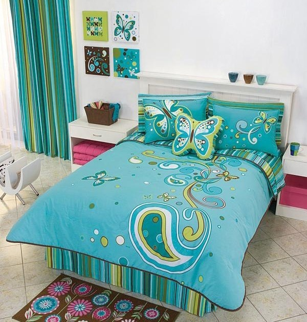 Bedroom Decor Chair Kids Bedroom Ideas Nz Bedroom Ideas Aqua Colors Of Bedroom: Teens Girls Aqua Butterfly Comforter Bedding Set Full