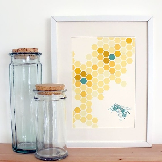 I don't like bees, but this intrigues me. Love the use of pattern and the simple monotone bee. Maybe I could translate to another insect or animal for boys' room art.