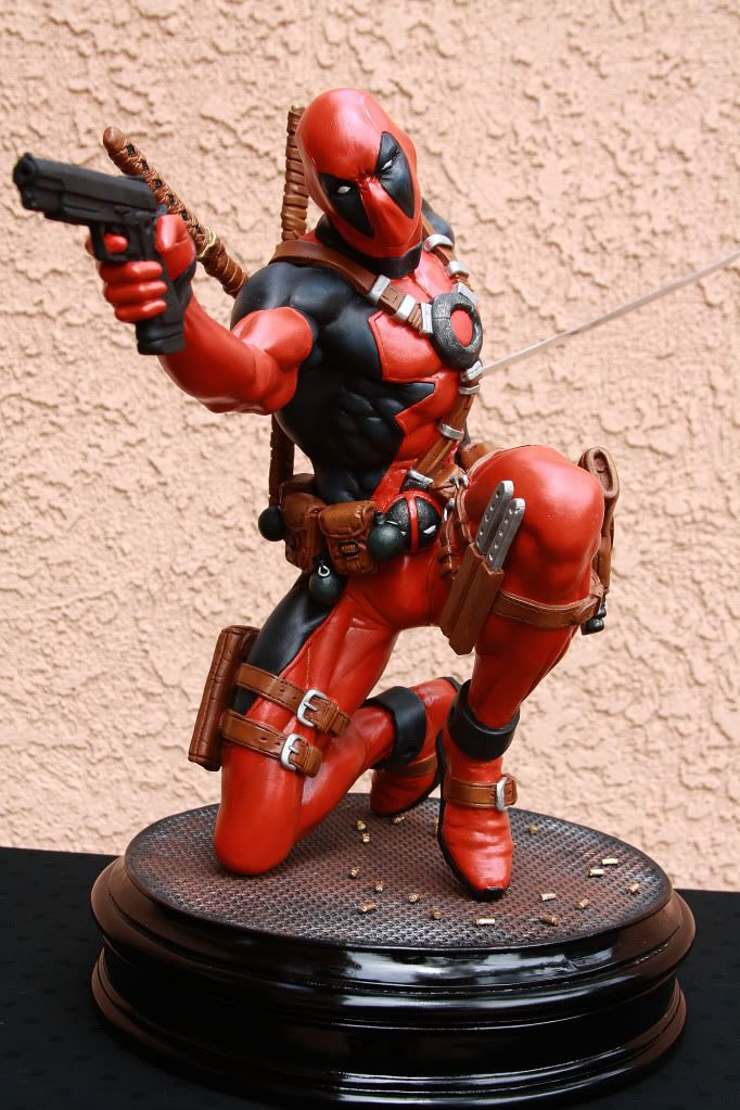 #deadpool custom 1:4 scale resin statue.  Oh I like this :D It would be kinda cool if he could talk too. Maybe with a sensor so he'd talk when someone moves xD He could yell at you and stuff :P