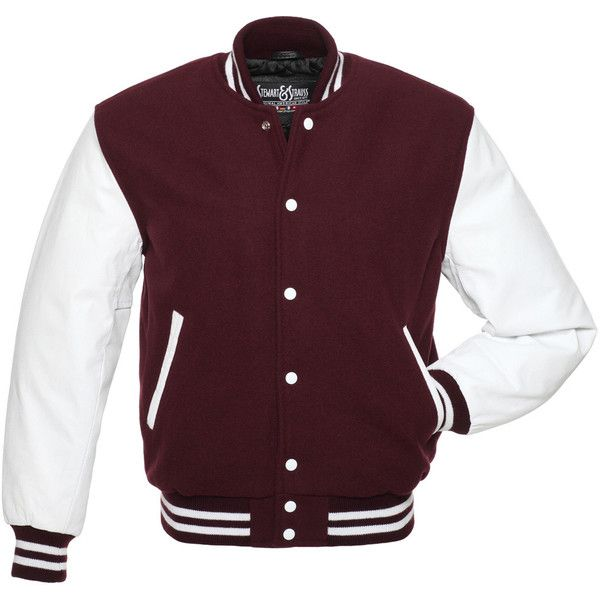 Maroon Wool and White Leather Letterman Jacket - C108 ($150) ❤ liked on Polyvore featuring outerwear, jackets, patch leather jacket, wool varsity jacket, letter jacket, leather jackets and leather letterman jacket