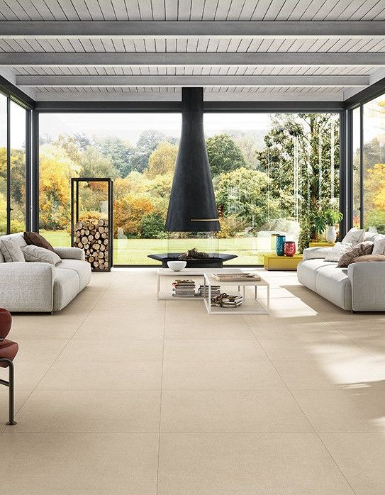 Porcelain stoneware floor #tiles with #stone effect CLUNY by COTTO D'ESTE #fireplace @cottodeste
