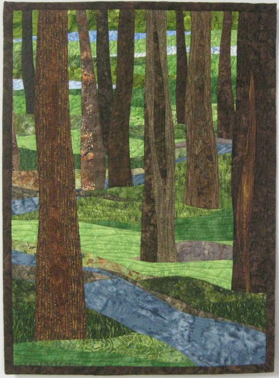 Landscape Art Quilt Trees With Stream 11 By