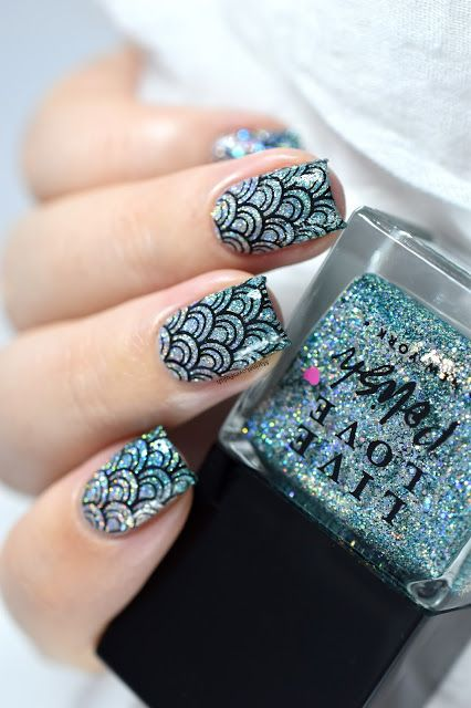 Mermaid Nail Art ft. Live Love Polish Bottoms Up Collection - Stamping - Sugar Bubbles SB062 - scales - fish nails