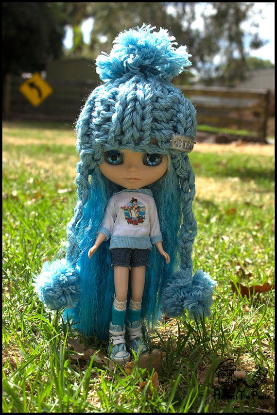 Sky  Off to Margs  Beanie/Hat for Blythe by minni64 on Etsy, $25.00