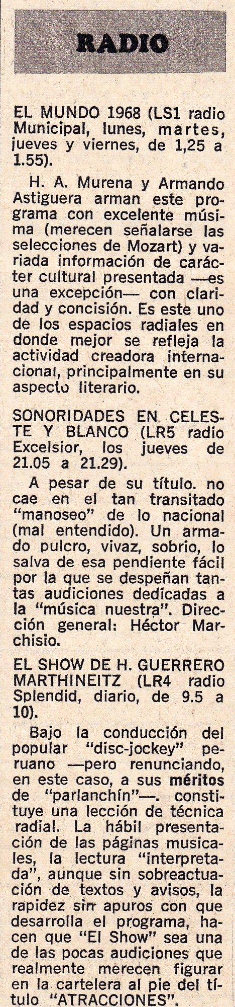 Comentario de programación radial de radios de Buenos Aires, publicada por revista PANORAMA de 1968.
