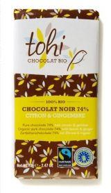Tohi 70g. Ciocolata Organica neagra 74% cacao cu lamaie si ghimbir
