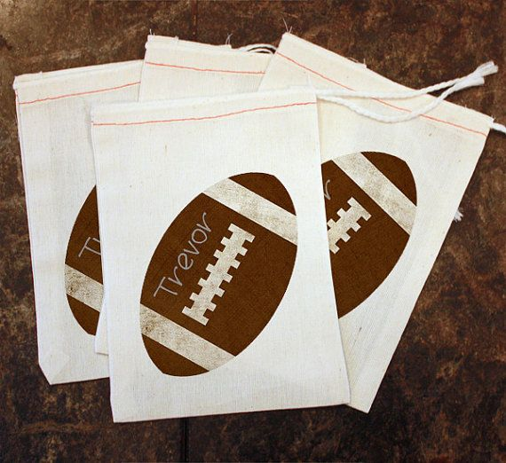 Football Party Favor Bags - Kids Football Birthday Party Decor / Muslin Bags 5x7 / Customized Party Bags / Custom Football Coach Gift Bags by ScrapendipityBags