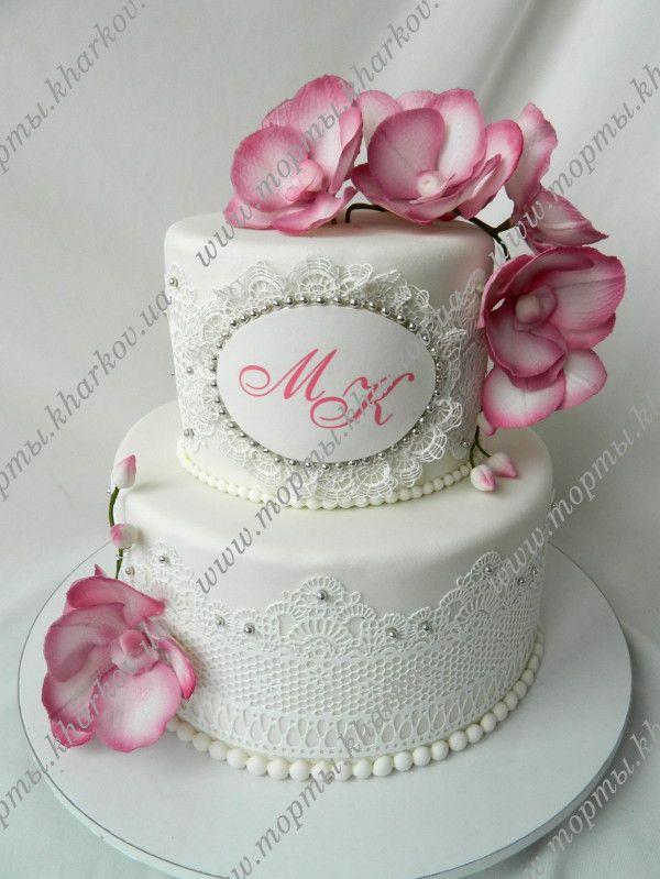 С орхидеями торт свадебный