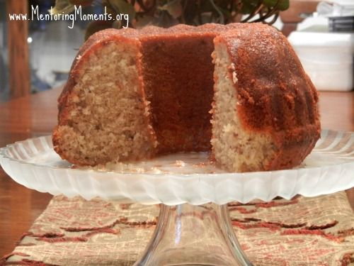 Pecan-Coconut Pound Cake  Easy and wonderful.  Uses cake mix combined with coconut pecan canned frosting...