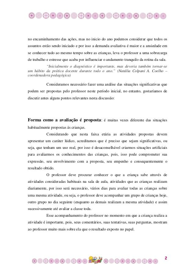 Avaliacao Inicial Na Educacao Infantil Relatorios Educacao