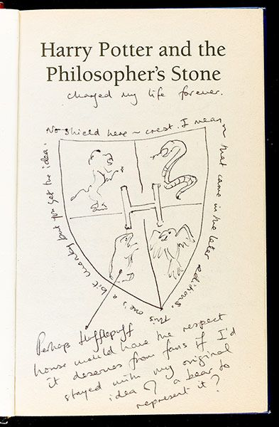 Rare annotated first edition of Harry Potter and the Philosopher's Stone by J.K. Rowling.