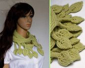 Light green leaf Scarf, knit tree branch chartreuse extra long narrow neck wear fashion scarf