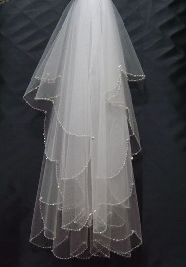 Two Layer Bridal VEIL Crystal Sequined LACE Ivory Wedding Veil