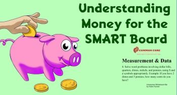 This interactive SMART Board lesson allows students to explore different ways to understand the concept and value of money.Common Core Aligned.HOME SCHOOL USERS:  Use the SMART Interactive Viewer (a FREE  SMART Technologies application that will allow you to view and use this file).