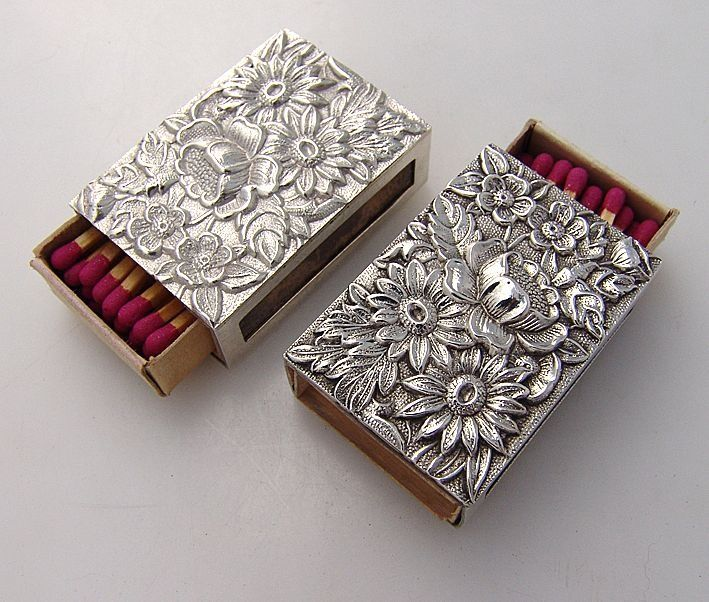 Silver Repousse Match Box Covers. Pewter design.   Repousse / Pewter